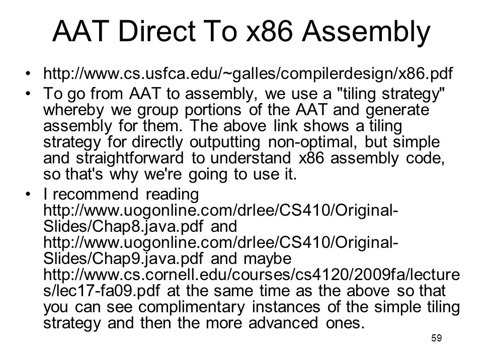 AAT Direct To x86 Assembly