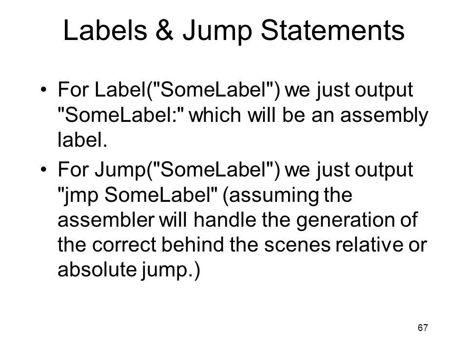 Labels & Jump Statements