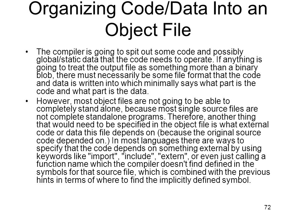 Organizing Code/Data Into an Object File