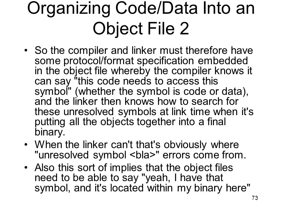 Organizing Code/Data Into an Object File 2
