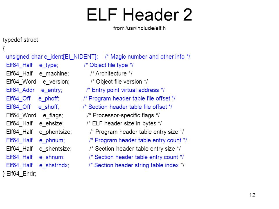 ELF Header 2 from /usr/include/elf.h