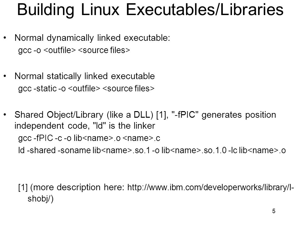 Building Linux Executables/Libraries