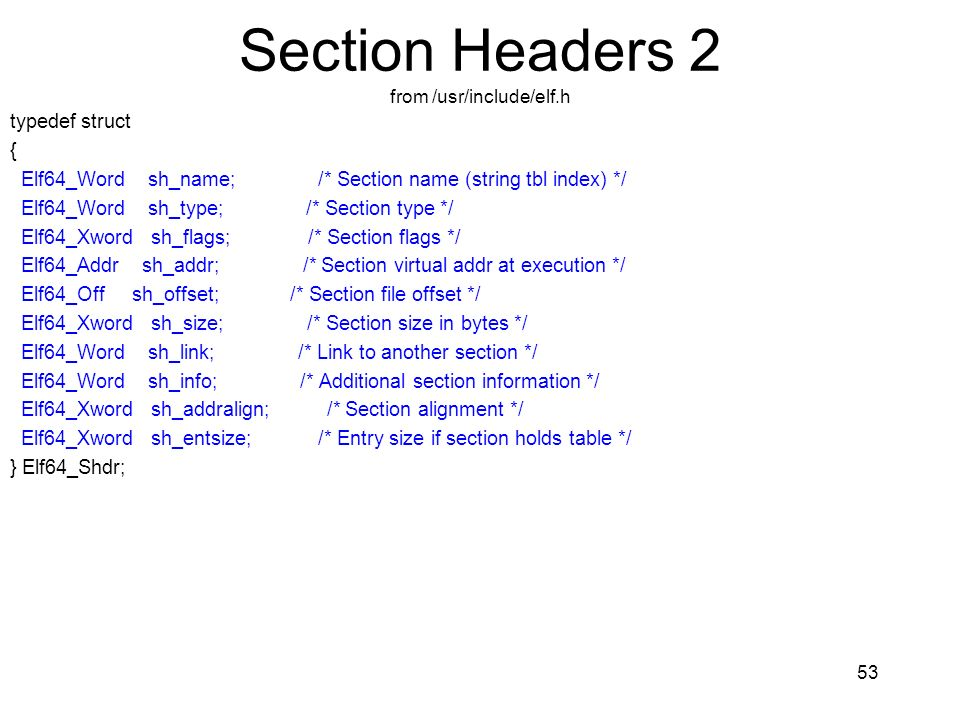 Section Headers 2 from /usr/include/elf.h