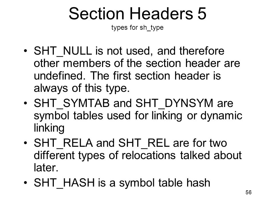 Section Headers 5 types for sh_type