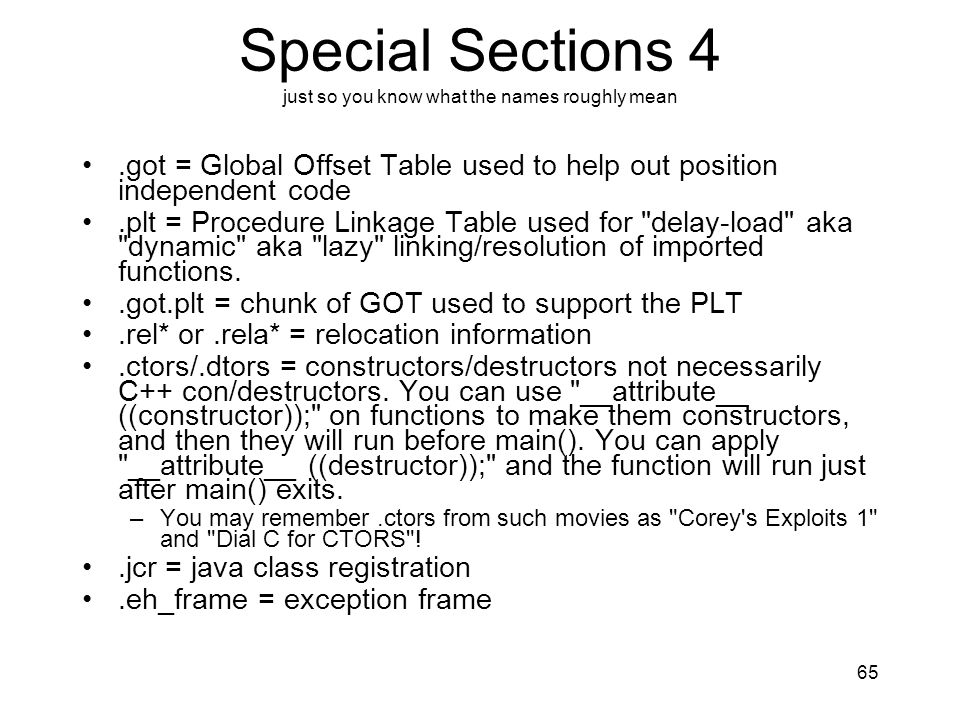 Special Sections 4 just so you know what the names roughly mean