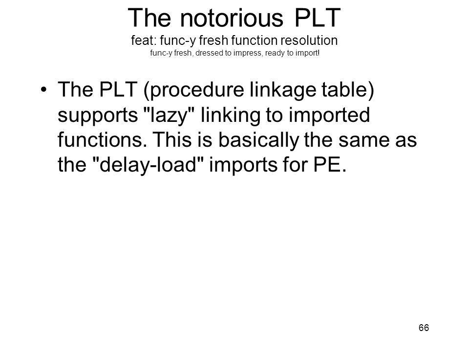 The notorious PLT feat: func-y fresh function resolution func-y fresh, dressed to impress, ready to import!
