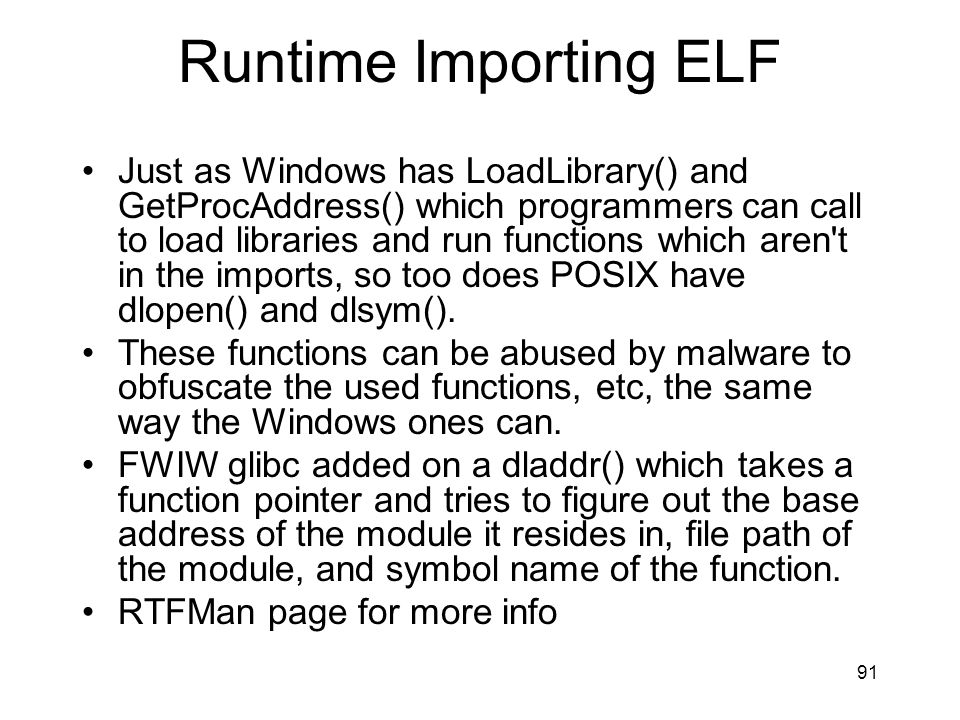 Runtime Importing ELF