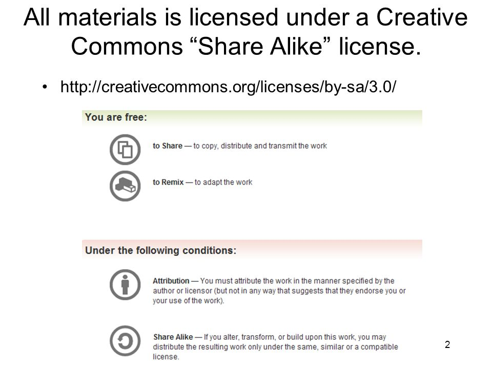 All materials is licensed under a Creative Commons Share Alike license.