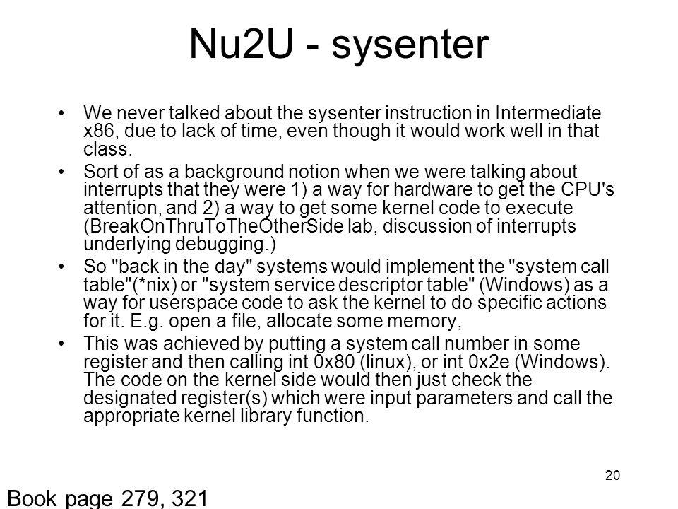 Nu2U - sysenter Book page 279, 321