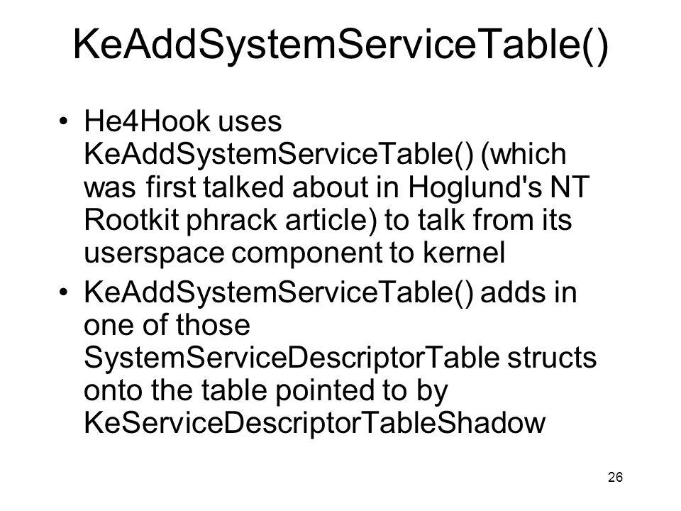 KeAddSystemServiceTable()