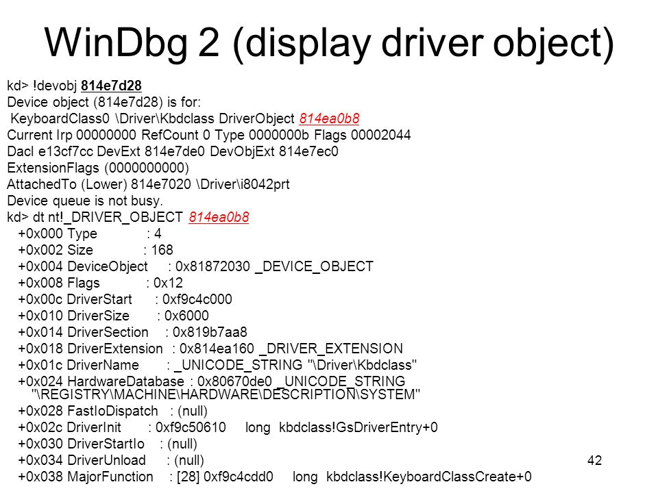 WinDbg 2 (display driver object)