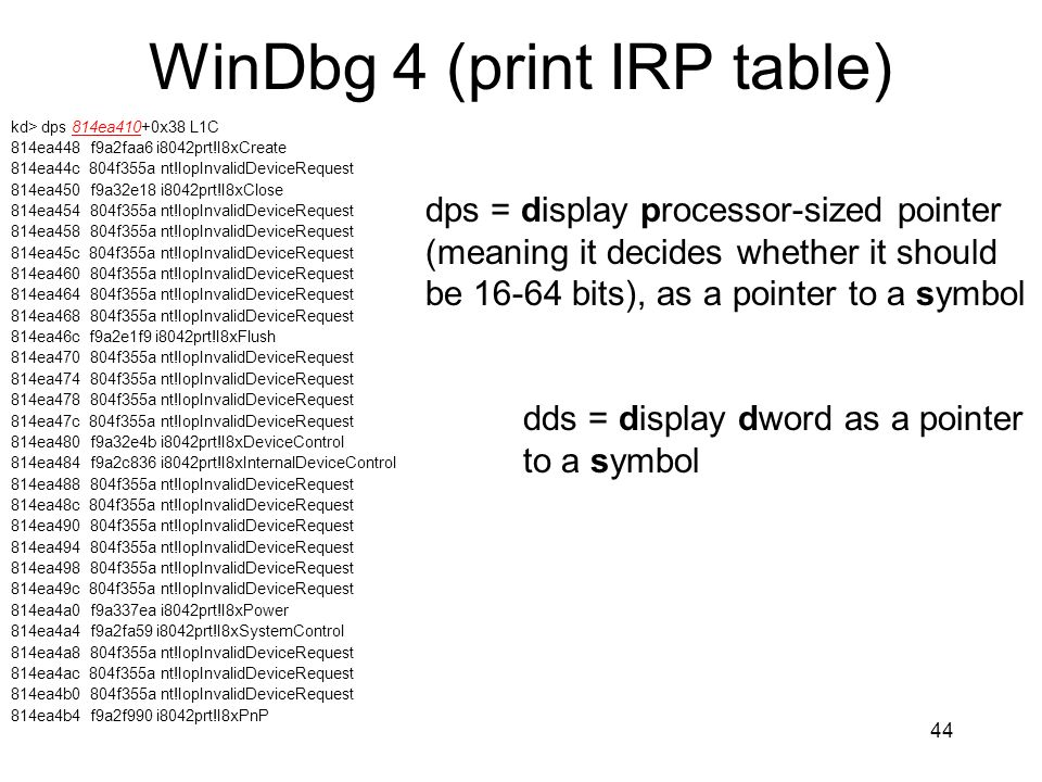 WinDbg 4 (print IRP table)