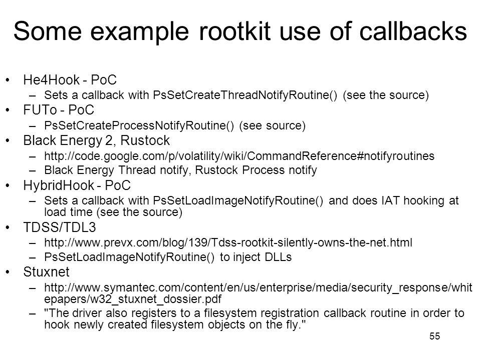 Some example rootkit use of callbacks