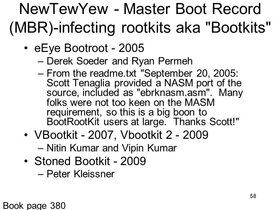 NewTewYew - Master Boot Record (MBR)-infecting rootkits aka Bootkits