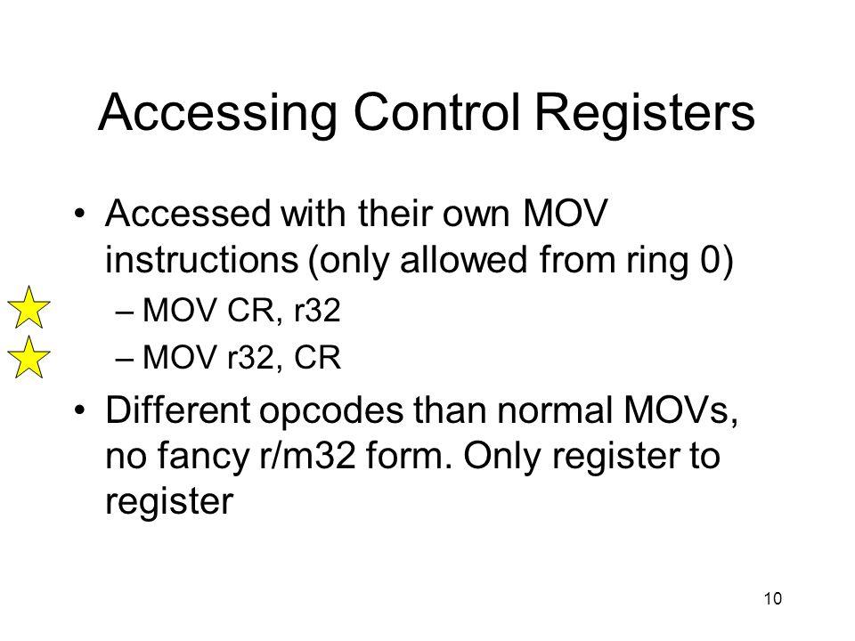Accessing Control Registers