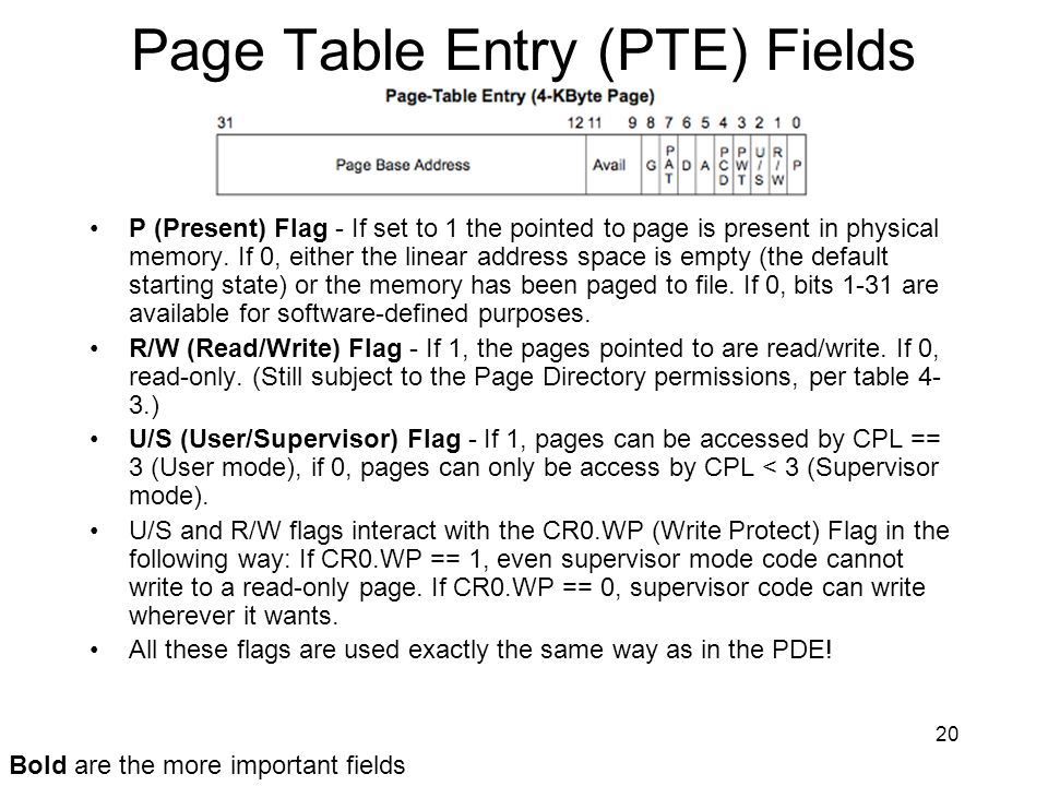 Page Table Entry (PTE) Fields