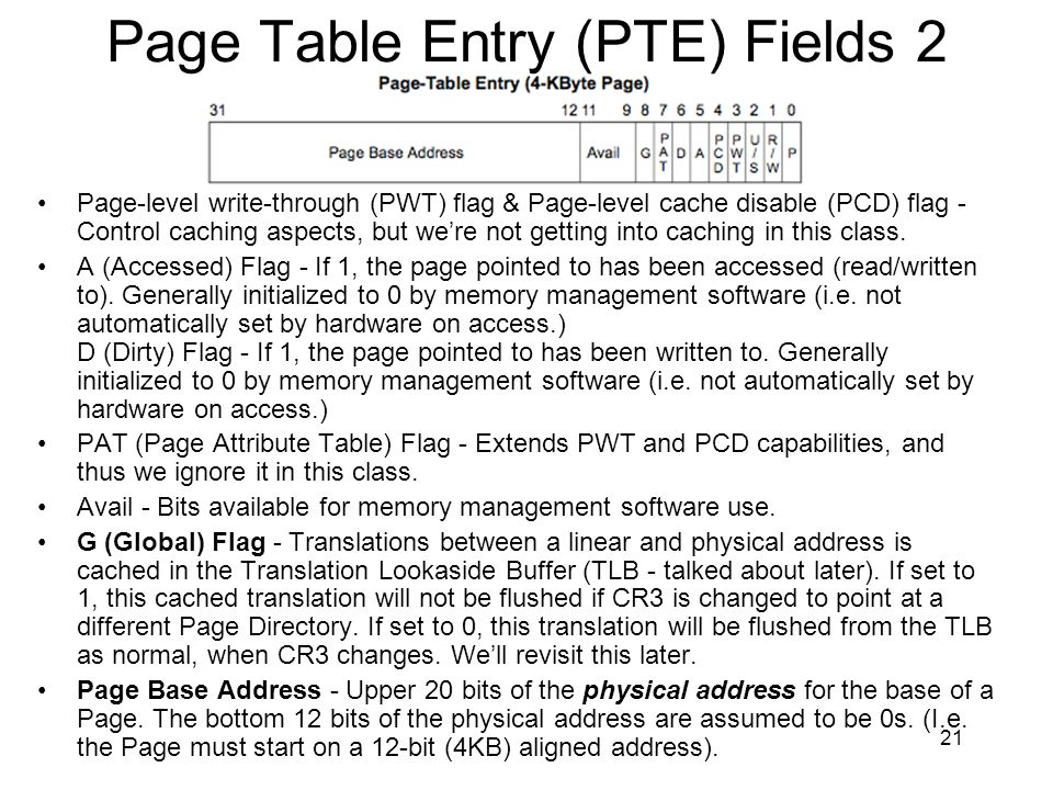 Page Table Entry (PTE) Fields 2
