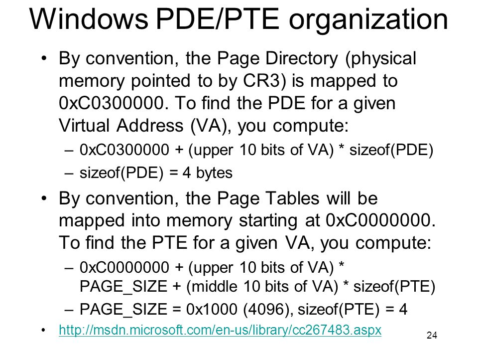 Windows PDE/PTE organization