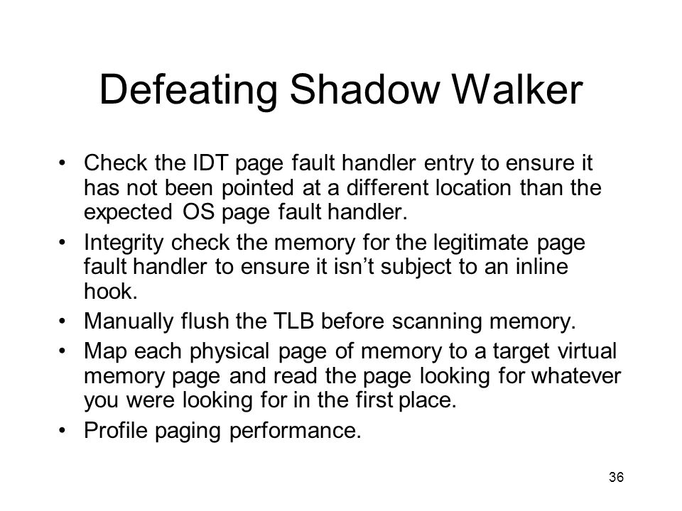 Defeating Shadow Walker