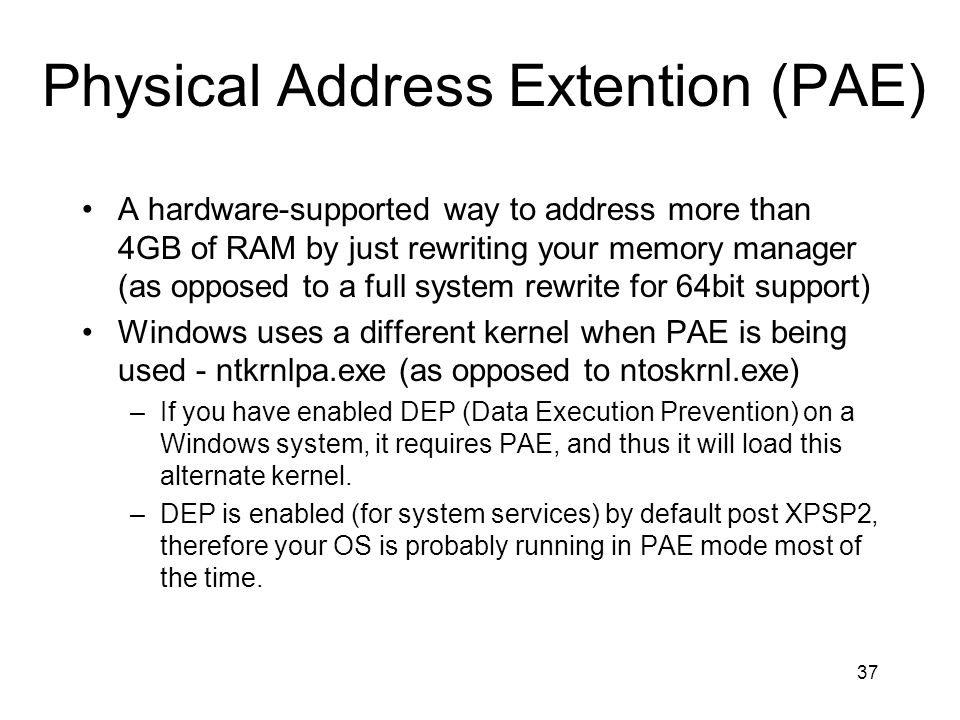 Physical Address Extention (PAE)