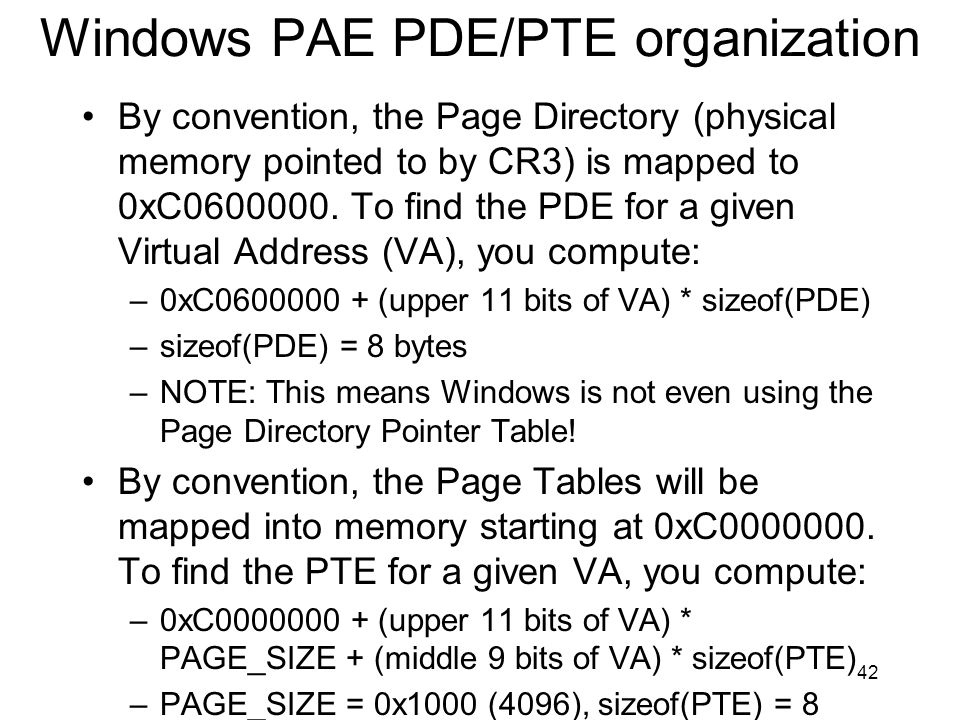 Windows PAE PDE/PTE organization