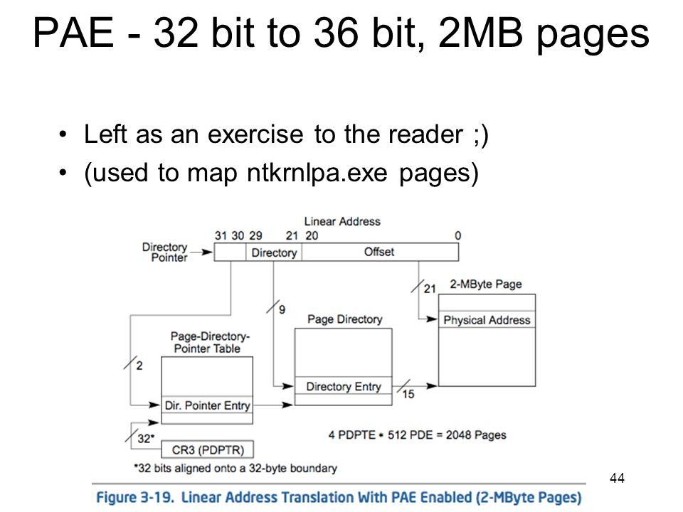 PAE - 32 bit to 36 bit, 2MB pages Left as an exercise to the reader ;)