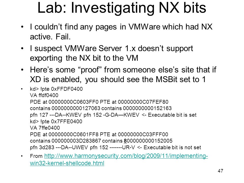 Lab: Investigating NX bits