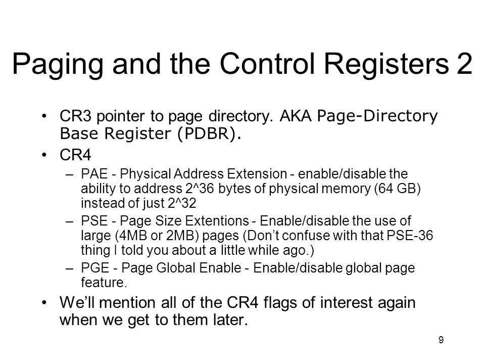 Paging and the Control Registers 2