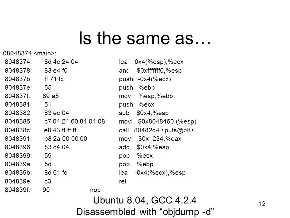 Disassembled with objdump -d