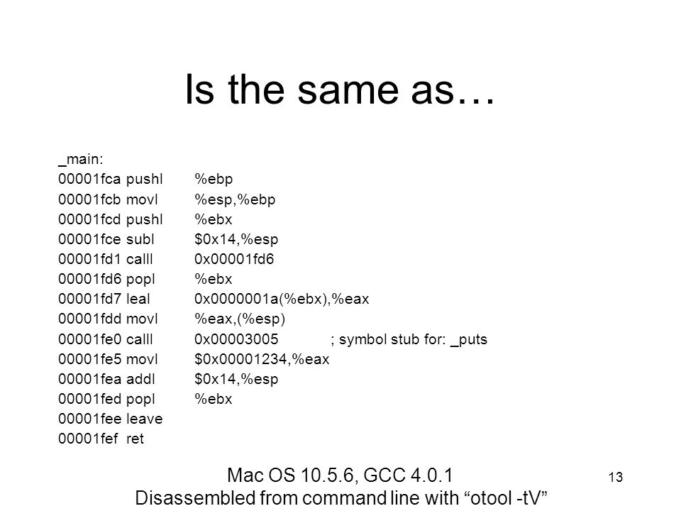 Disassembled from command line with otool -tV