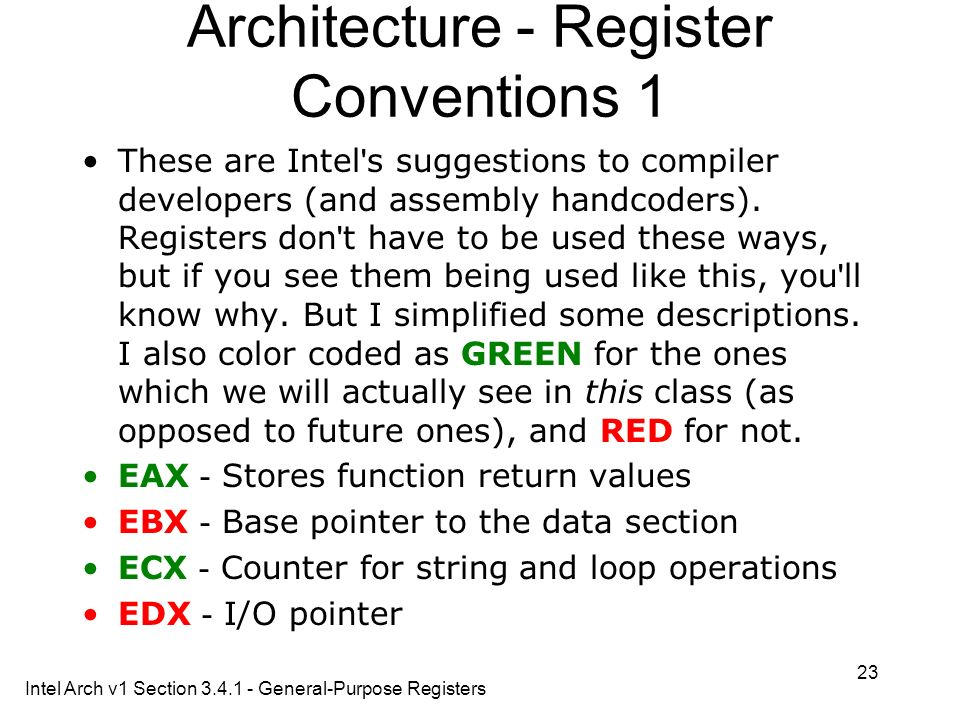 Architecture - Register Conventions 1
