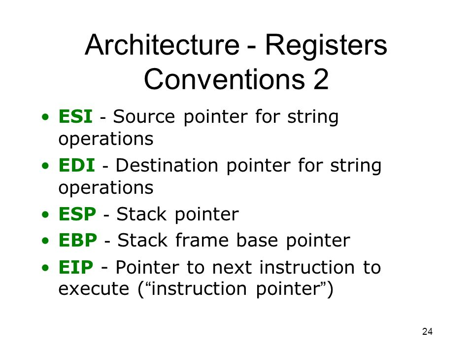 Architecture - Registers Conventions 2