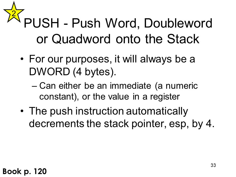PUSH - Push Word, Doubleword or Quadword onto the Stack