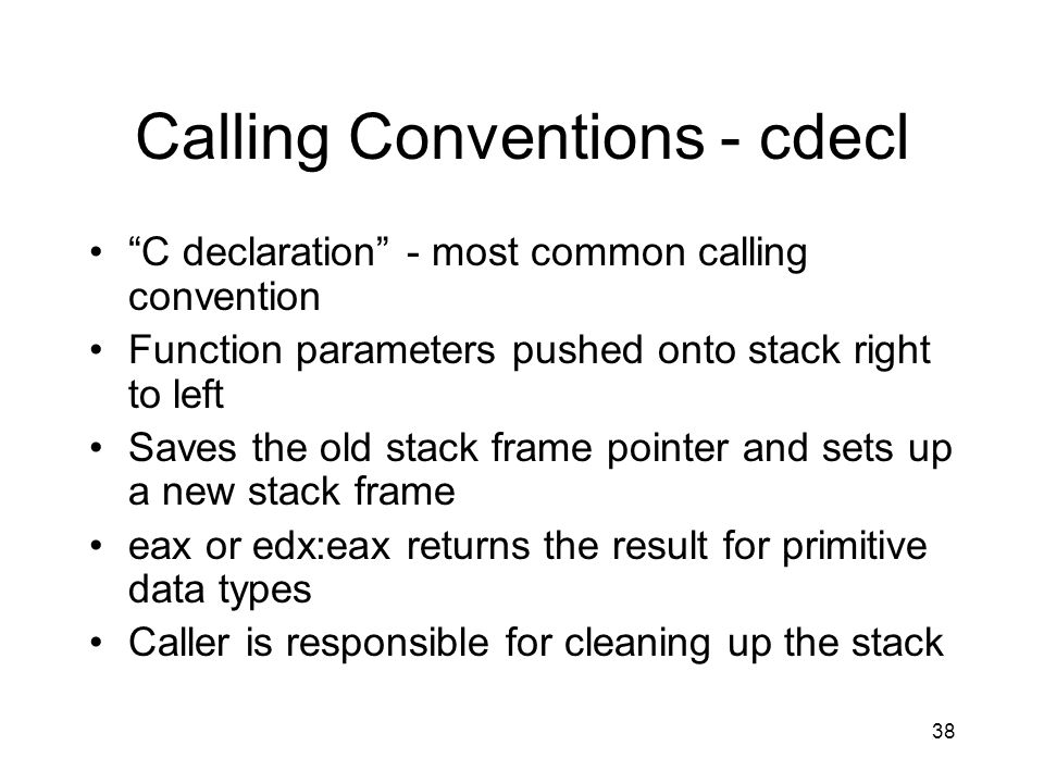 Calling Conventions - cdecl
