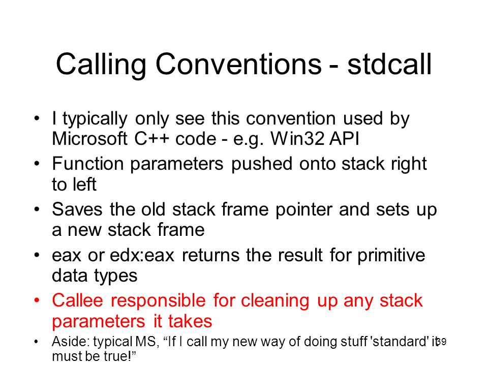 Calling Conventions - stdcall