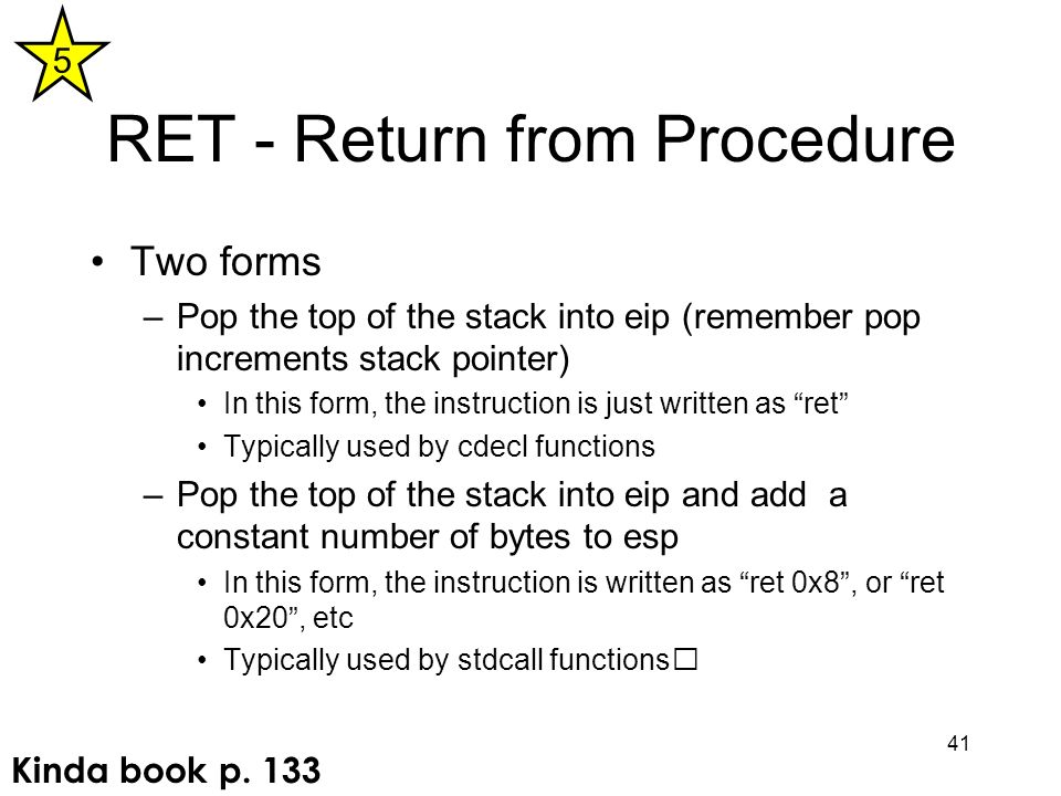 RET - Return from Procedure