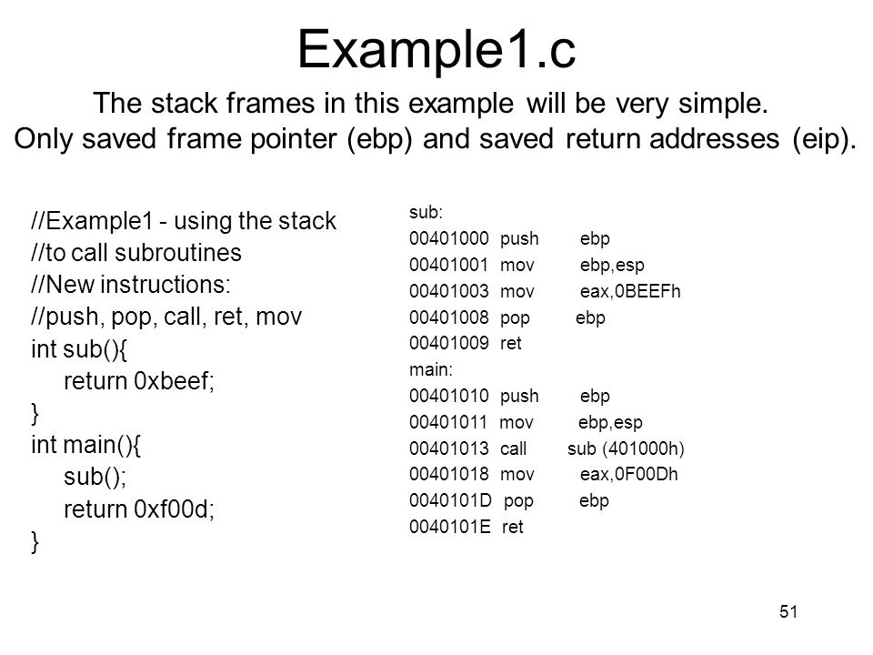 Example1.c The stack frames in this example will be very simple.