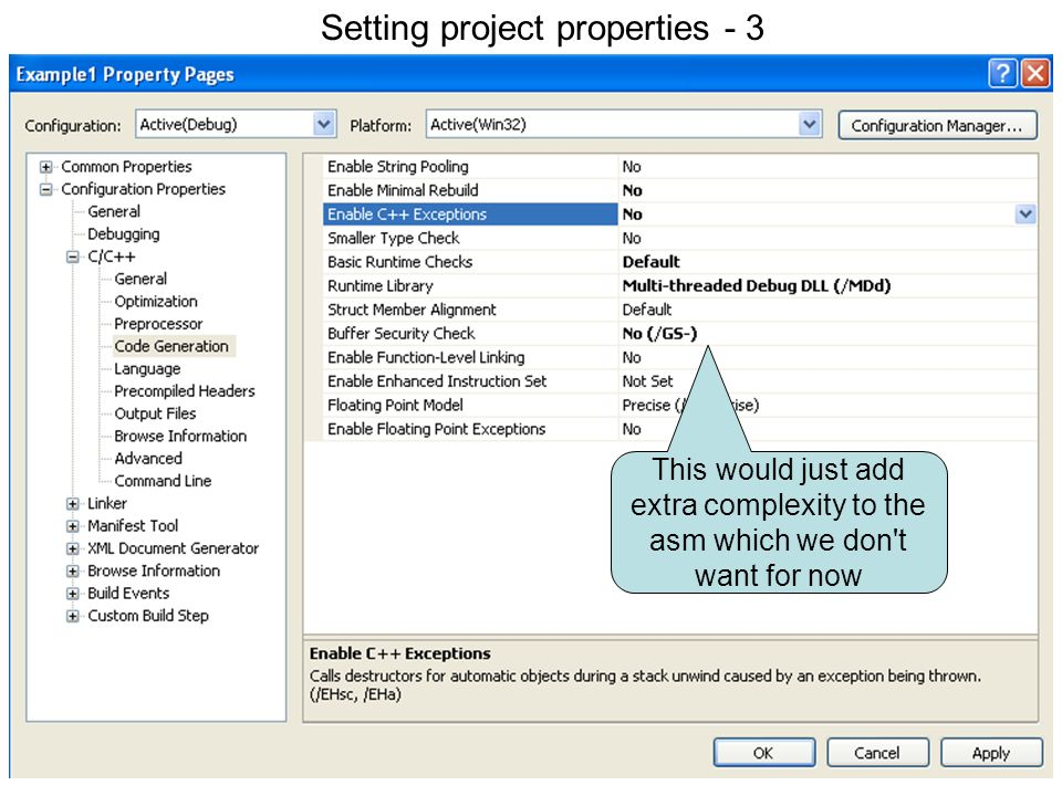 Setting project properties 3
