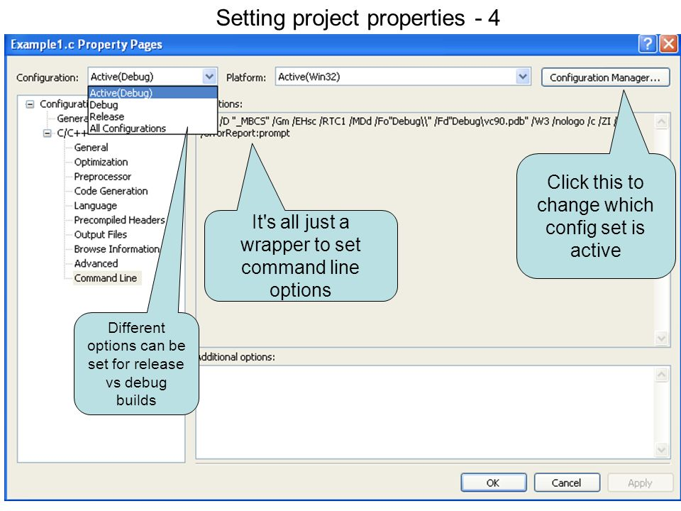 Setting project properties 4