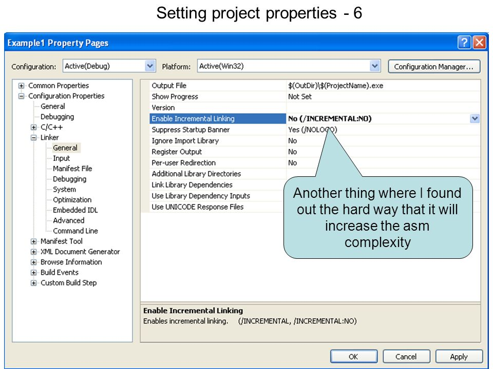 Setting project properties 6