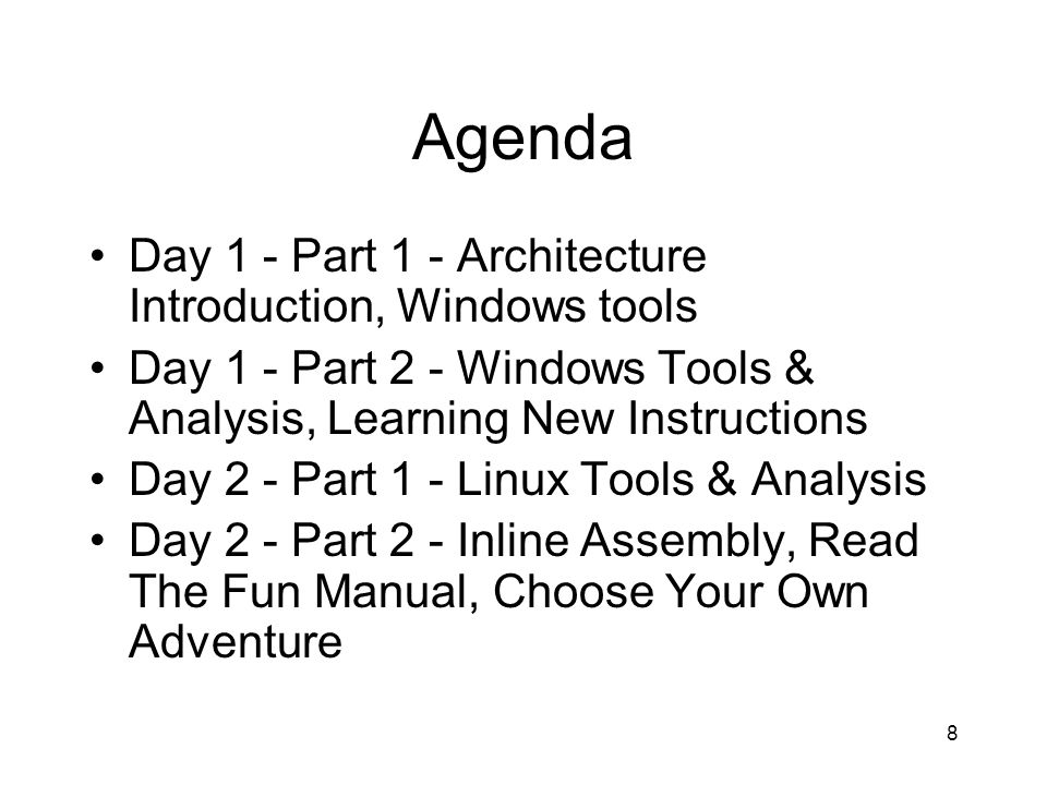 Agenda Day 1 - Part 1 - Architecture Introduction, Windows tools