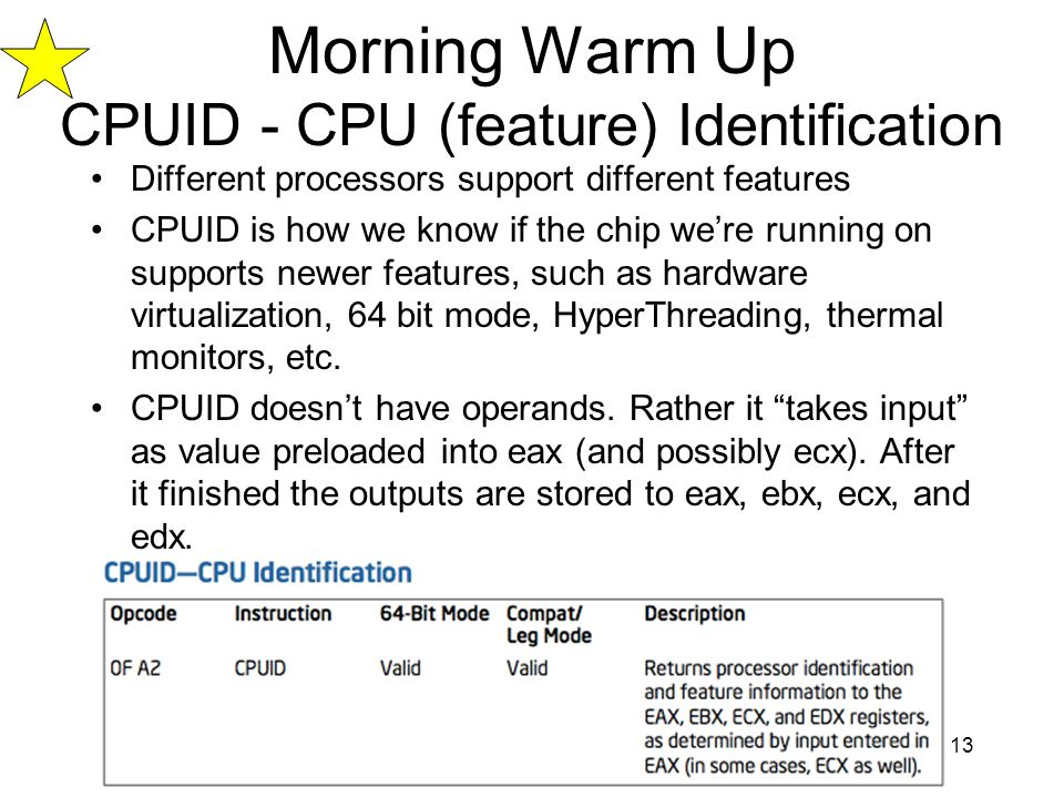 Morning Warm Up CPUID - CPU (feature) Identification
