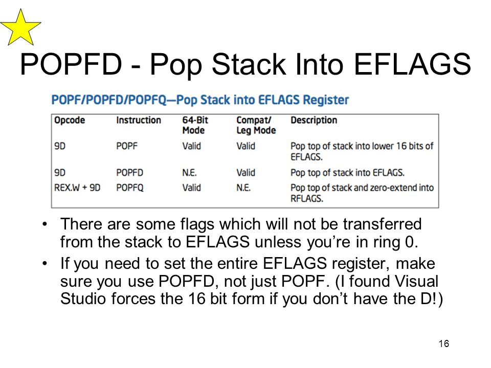 POPFD - Pop Stack Into EFLAGS