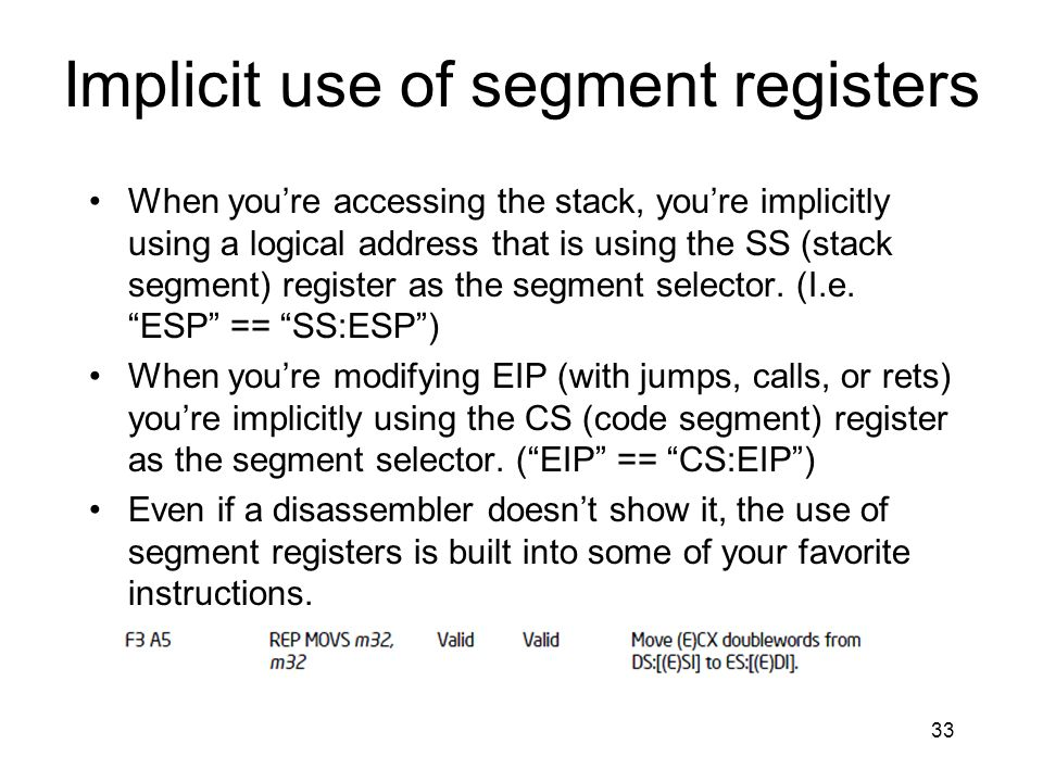 Implicit use of segment registers