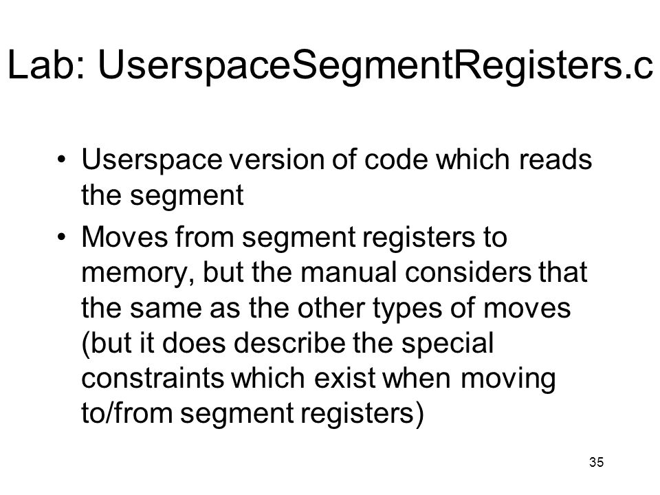 Lab: UserspaceSegmentRegisters.c