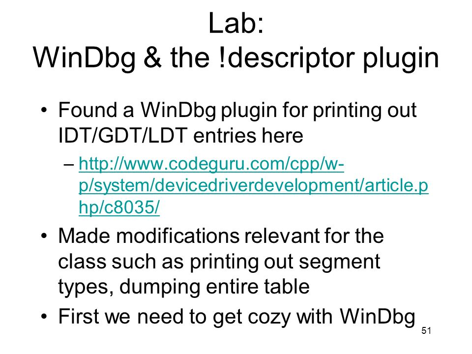 Lab: WinDbg & the !descriptor plugin