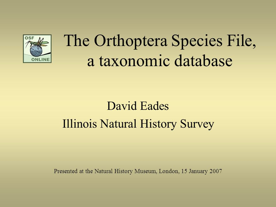 The Orthoptera Species File, a taxonomic database