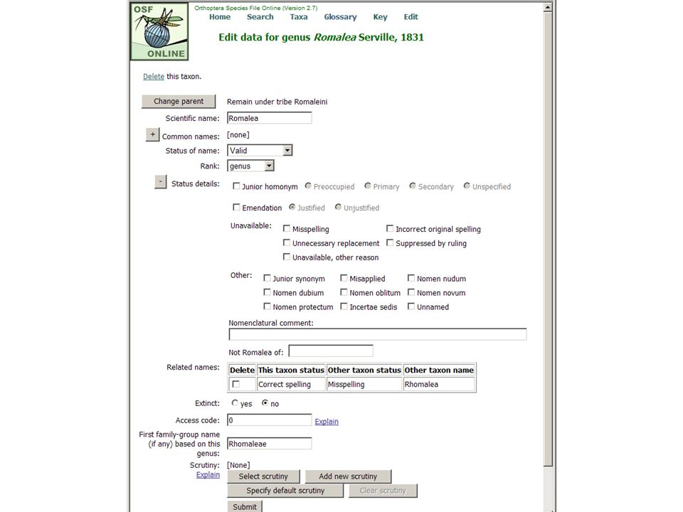 E, initial Romalea edit screen (status details open)