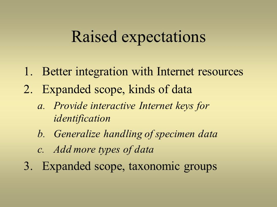 Raised expectations Better integration with Internet resources