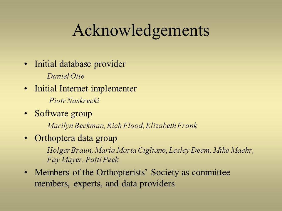 Acknowledgements Initial database provider